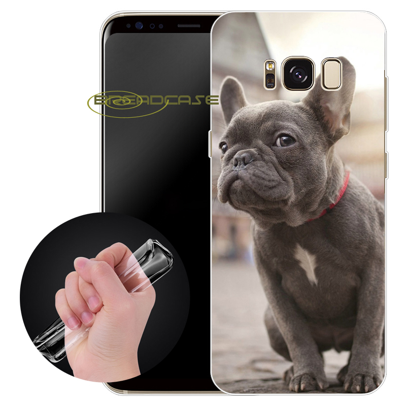 Capa Dog French Bulldog Cases for Samsung Galaxy S9 S8 Plus S6 S7 Edge Plus Note 8 5 4 3 S3 S4 S5 Clear Soft TPU Silicone Cover.