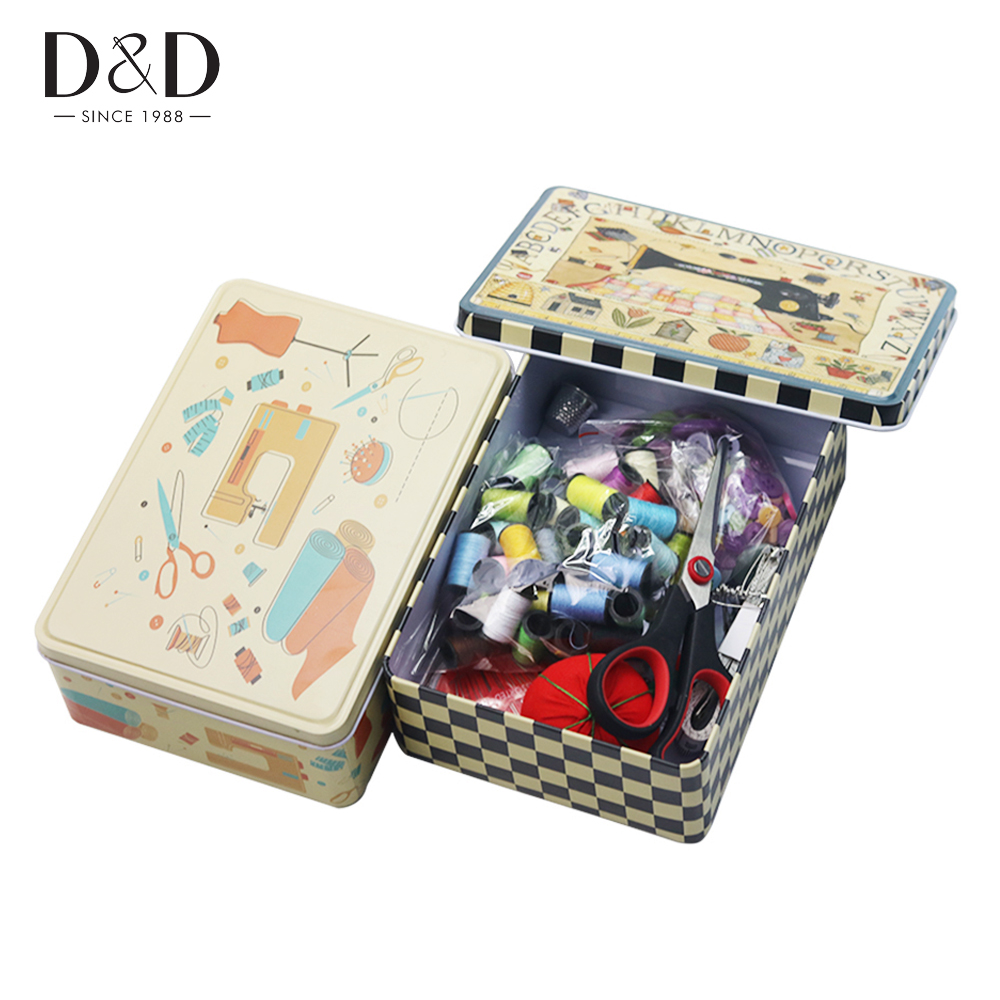 154pcs/Set Hard Tin Assorted Sewing Kits Box Quilting Thread Stitching Embroidery Craft Sewing Tools Set Christmas Mom Gifts