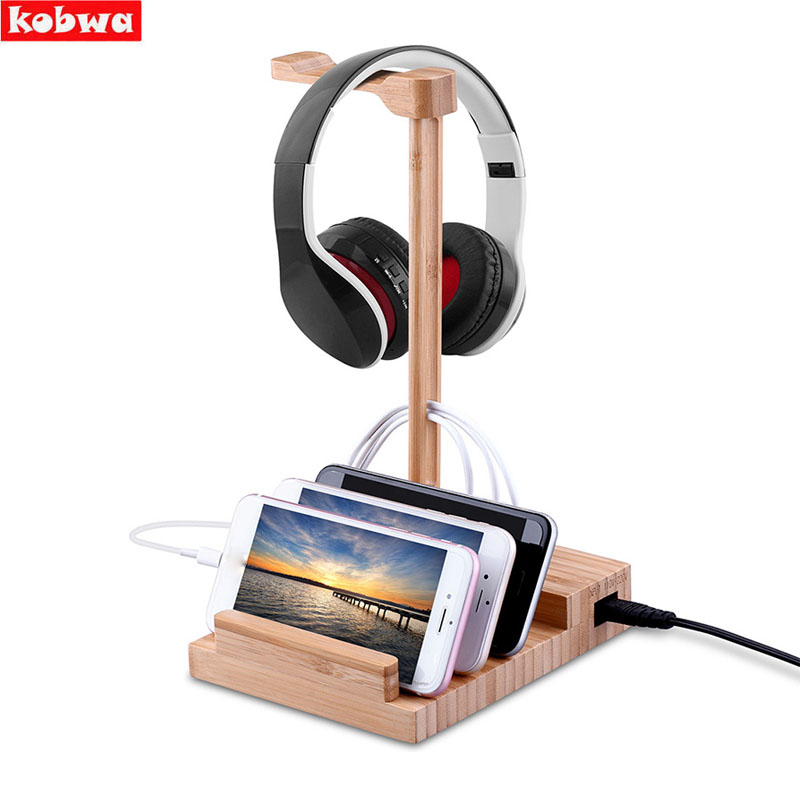 Bamboo Headphone Headset Earphone Stand Holder with USB Charging 5V 3A Fast Charge Charger Display for iphone Headphone bracket цена 2017