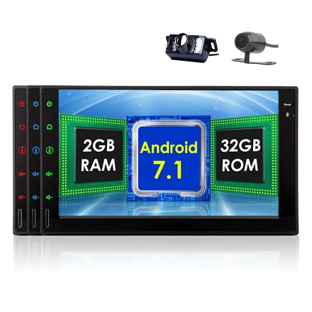 Front&Backup Cameras Octa Core Car Stereo 2din 7'' Android 7.1 GPS Navigation in Dash Autoradio Tablet Wifi/USB/SD Head Unit