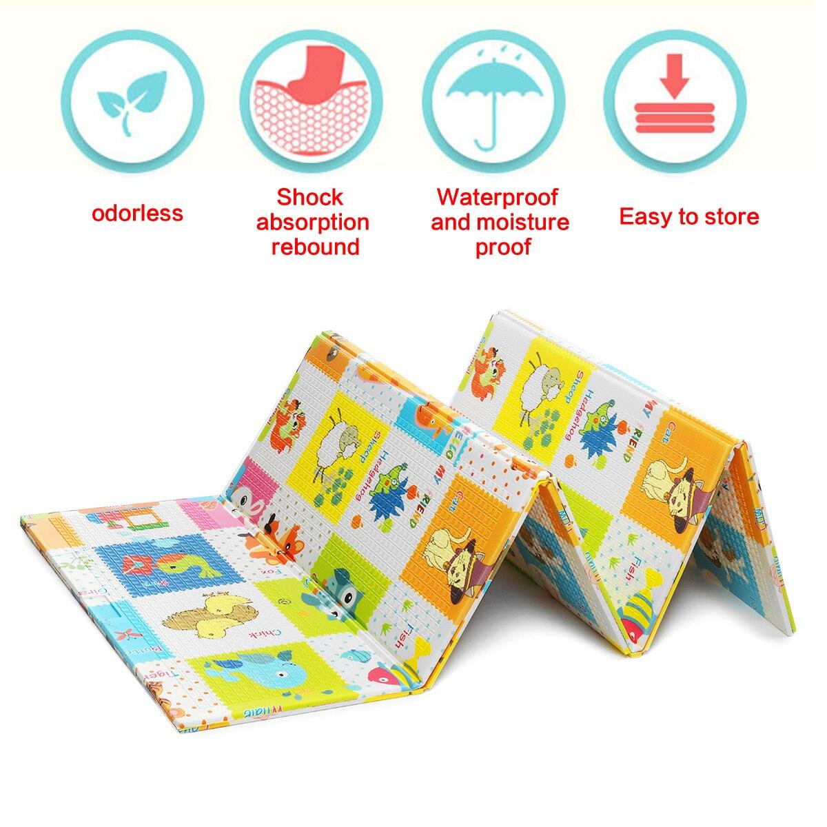 LBLA enfants bébé enfant animaux motif pliable Double étage tapis de jeu ramper tapis PE 180x200x1 cm