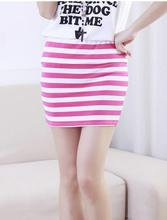 spring Women Sexy Pencil Candy Color Elastic High Summer Striped Package Hip Skirt Pleated Skirt female Short Skirt Slim