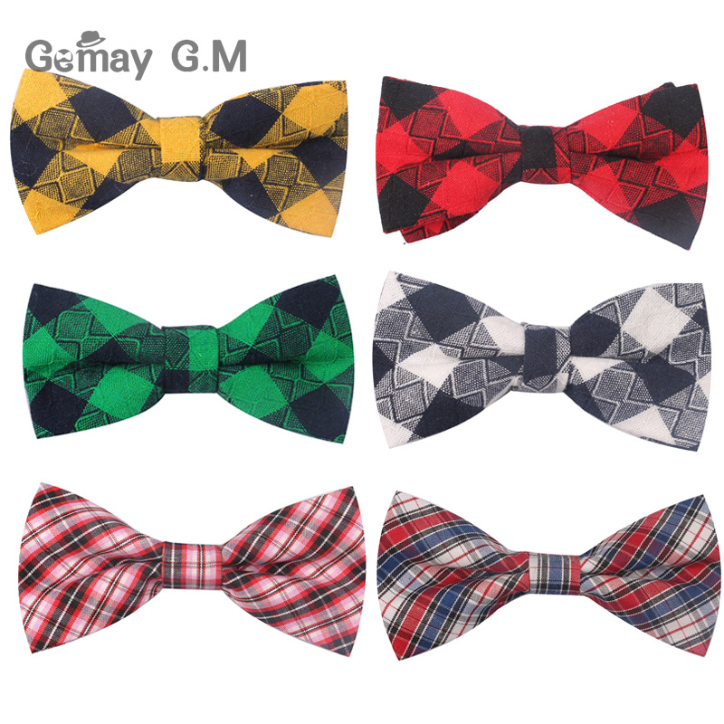 New Plaid Bow Ties For Children Baby Neckwear Adjustable Tuxedo Boys Girls Bow Tie For Party Causal Cotton Bowties