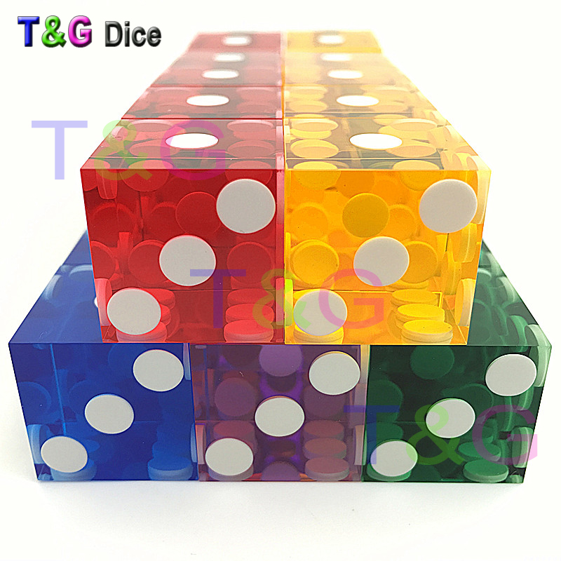5piece T&G dice 19mm high-grade Acrylic precision dice  transparent dice six sided casino sharp straight corners dice big dice t