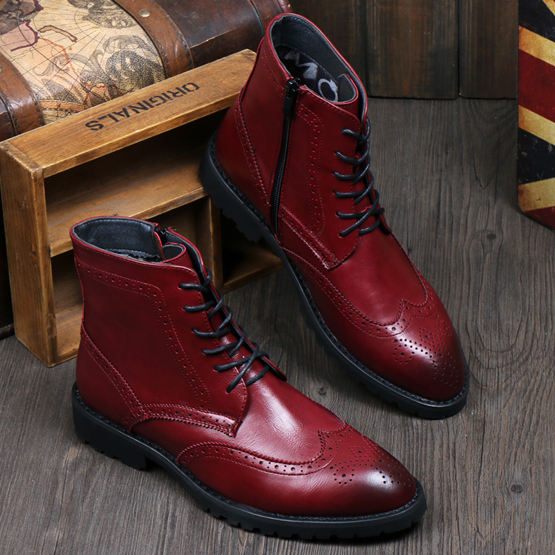new 2015 British style men leather boots ankle riding ...