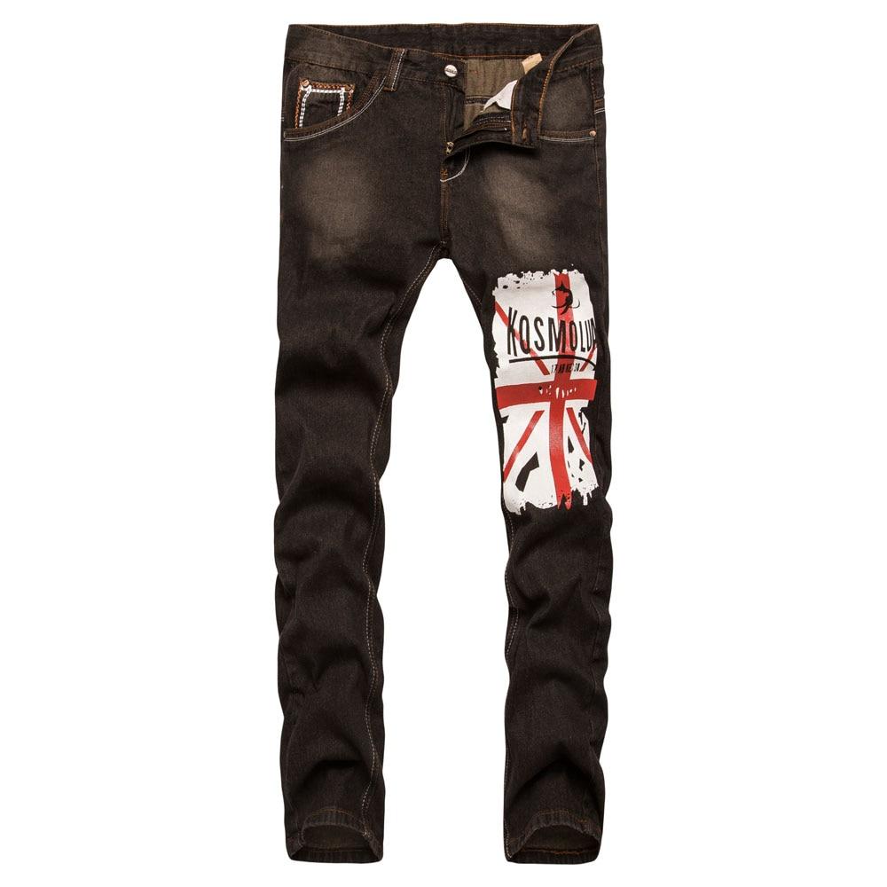 Бренд Для Мужчинs Штаны Новинка 2017 года с принтом букв модные Для мужчин обтягивающие джинсы упругие печати американский флаг мотоцикл Джи... ...