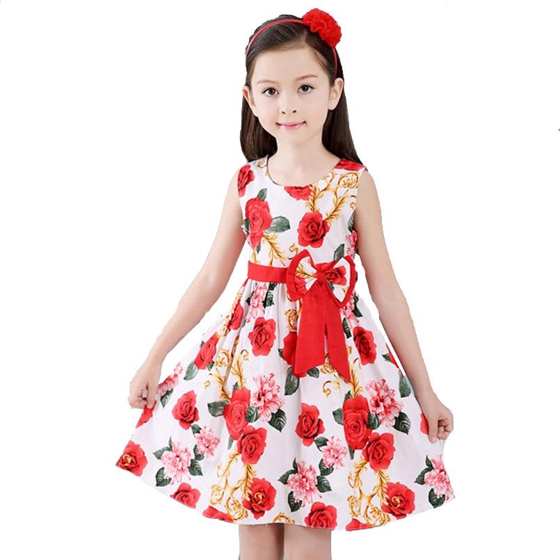 Dresses for Girls 여름 민소매 꽃 드레스 어린이 조끼 - 아동복