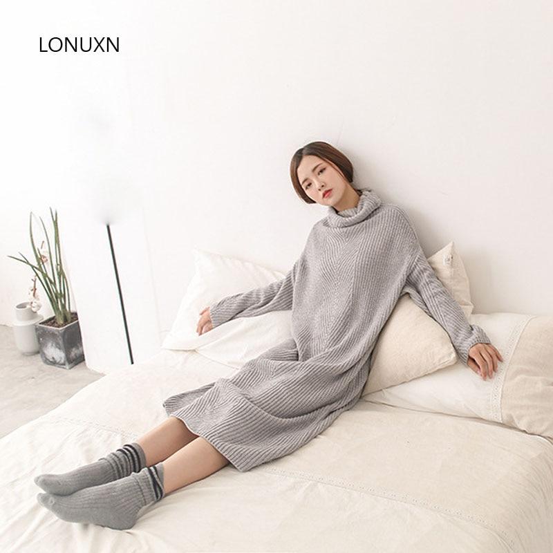 Haute qualité automne hiver nouveau col haut long paragraphe épais lâche pull robe à manches longues en tricot coréen fille base robe