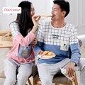 Casual Long Sleeve Couple Matching Pyjama Sleepwear Autumn Cotton Women & Men Cartoon Plaid Lovers Pajamas Homewear For Youth