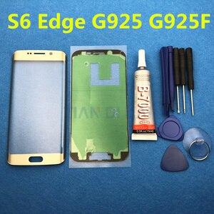 Image 2 - Ön Dış cam lens kapağı samsung için yedek Galaxy S6 Kenar G925 G925F S7 Kenar G935 G935F LCD cam ve B 7000 Tutkal & Aracı