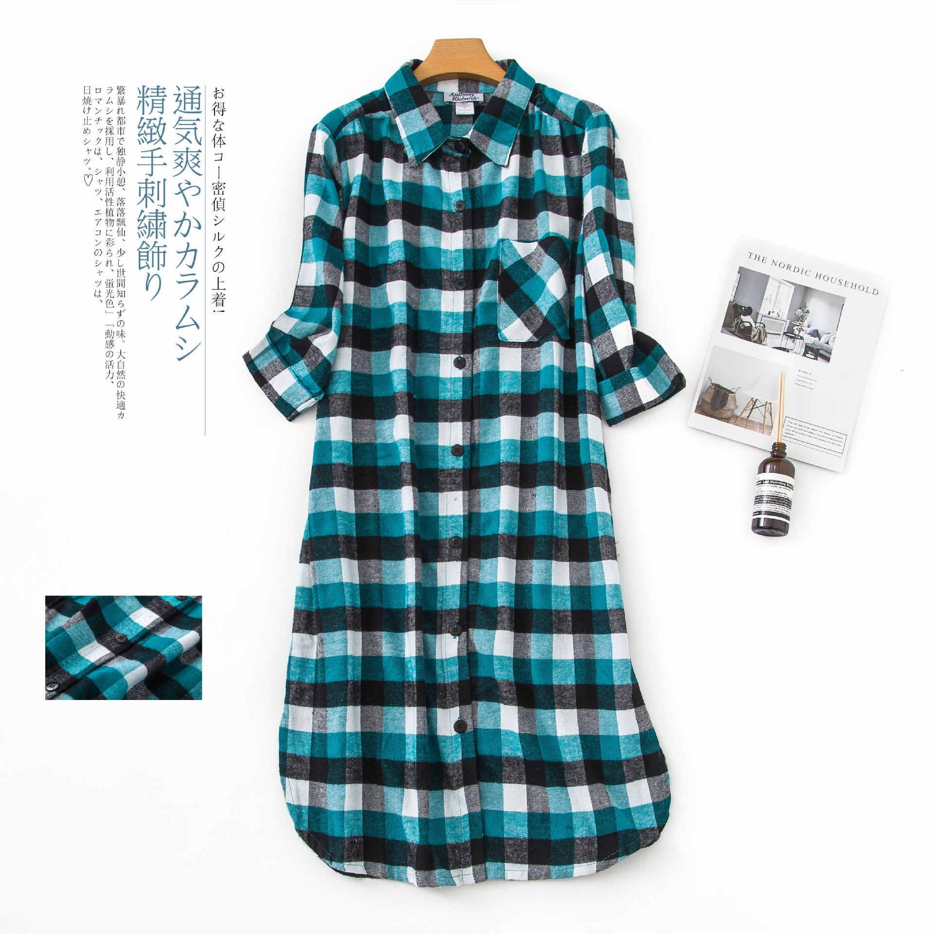 Shuchan демисезонный плюс размеры для женщин пижамы платье с 3/4 рукавом Хлопок плед Повседневная Ночная рубашка до колена Saias