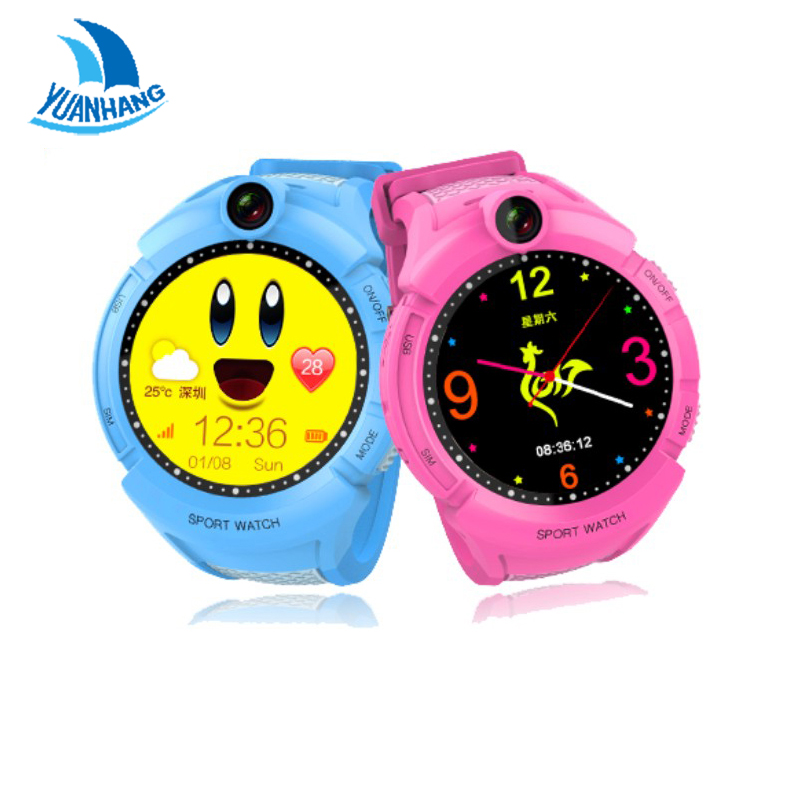 imágenes para 2017 Inteligente GPS LBS Rastreador Localizador SOS Cámara Monitor Remoto Anti-perdida Kids Child Watch Reloj Smartwatch Touch Ronda pantalla