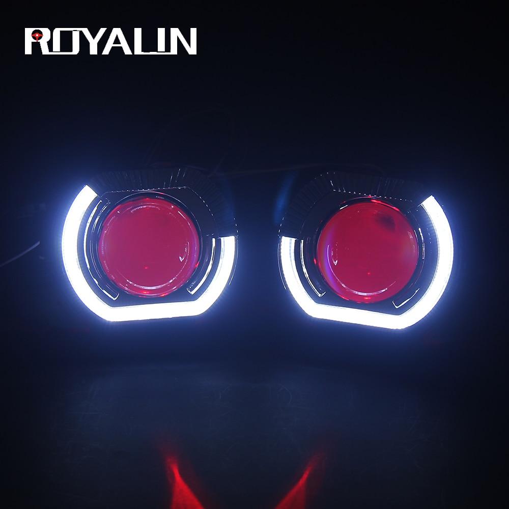 ROYALIN For BMW X5-R LED Bixenon H1 Headlights Projector Lens  H4 H7 Angel Devil Eyes Car Lights Universal Hi/Lo Lamp Retrofit