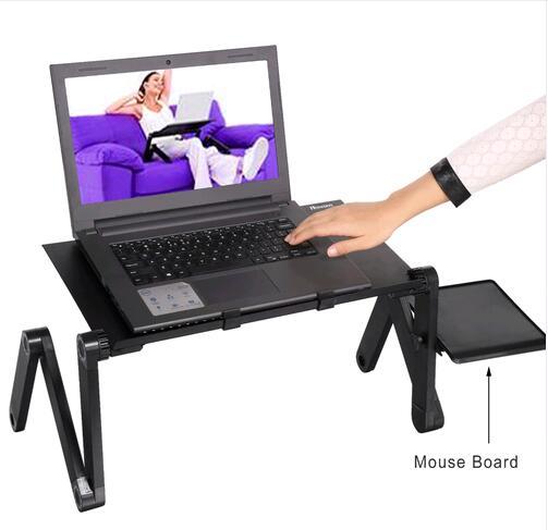 Bureau d'ordinateur Portable Réglable Pliable Ordinateur Portable Portable Lap PC Bureau Table Pliante Ventilé Stand Plateau de Lit