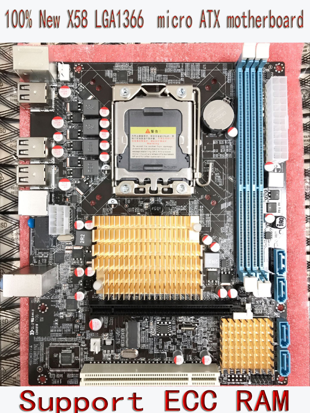 New X58 desktop motherboard for LGA 1366 <font><b>DDR3</b></font> 16GB support <font><b>ecc</b></font> ram for quad-core needle 8PIN CPU motherboard free shipping image