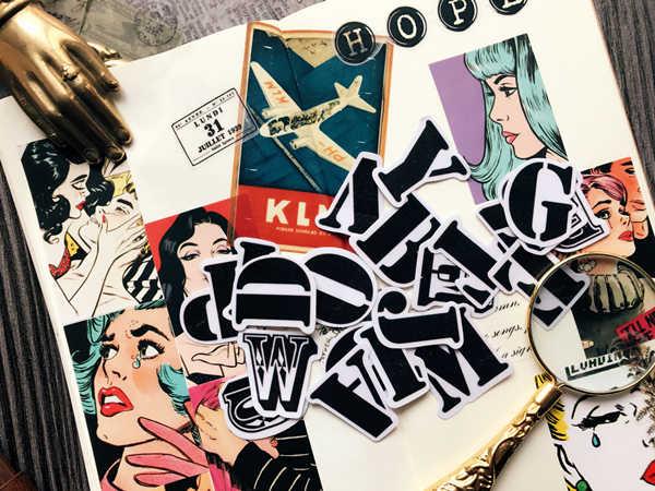 29 Pcs Vintage Zwart Grote Letters Stickers Scrapbooking Stickers Decoratieve Journal Gelukkig Planner Sticker DIY Craft Fotoalbums