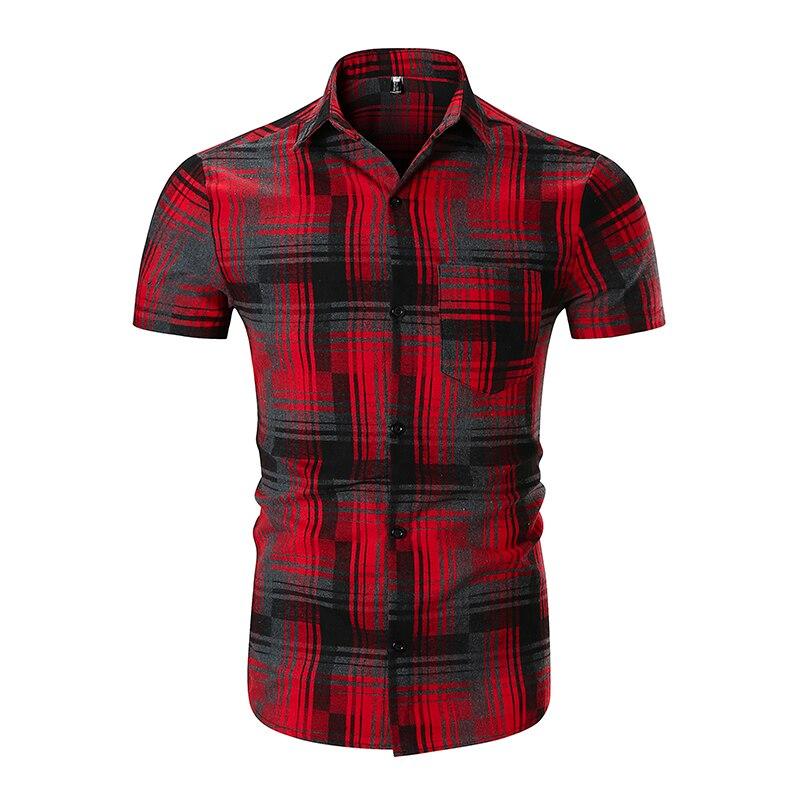 EYUANYANG Men Shirts Short Sleeve plaid Shirt Mens Hawaii Casual Shirt 2018 Summer Slim Cotton High Quality Shirt European Size