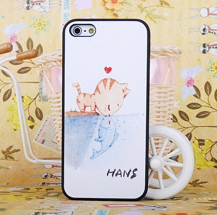 For apple 5 cat phone case fish solid scrub shell protective case for iphone 5 protective case
