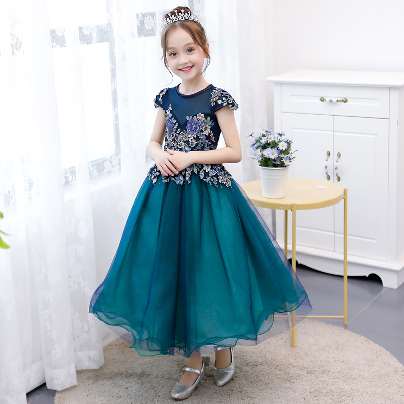 2018 winter girls lace tulle princess floral maxi sundress toddler kids lace dress party prom bridesmaid party pageant dresses lace insert maxi party prom dress