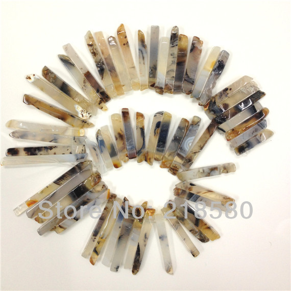 H CCB28 Leopard Agat Spike Beads Long Brown Agat Stick Beads Agat Point Briolette Beads 40mm 70mm