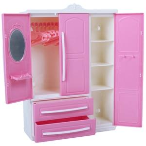 Image 2 - Armoire à poupée rose mignonne, 1 pièces + cintres mixtes de 10 pièces, Mini placard de princesse, accessoires de meubles pour jouets de poupée Barbie