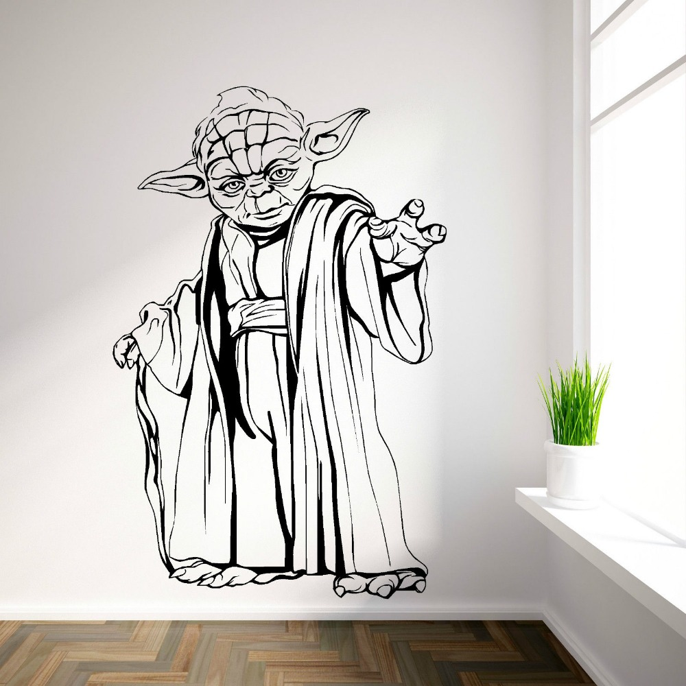 yoda star wars vinyl wall art room sticker decal movie themed wall decals wall stickers walpaper. Black Bedroom Furniture Sets. Home Design Ideas