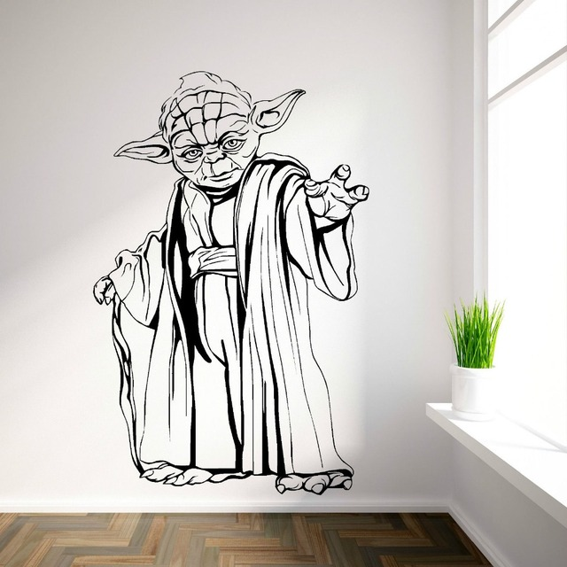 YODA STAR WARS vinyl wall art room sticker decal movie themed wall decals wall stickers walpaper & YODA STAR WARS vinyl wall art room sticker decal movie themed wall ...