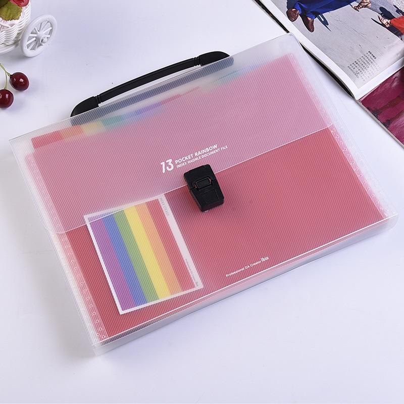 A4 File Folder Bag Expanding Wallet Plastic File Organizer With Handle 13 Layers Rainbow Document File Bag Fichario Escolar A4