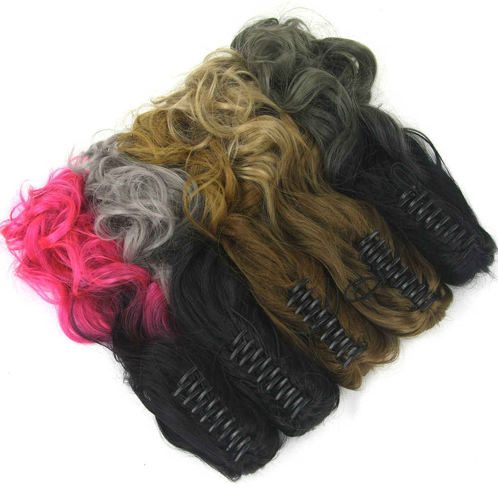 Soowee 24 inch Wavy Black to Pink Ombre Claw Ponytail Synthetic Hair Clip in Hair Extensions Hairpiece Pony Tail