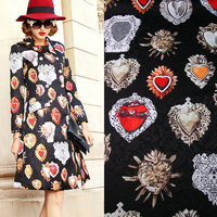 Vintage Black Color Polyester Jacquard Fabric Red Stone Printed Thick Jacquard Tissus Women Dress Coat DIY