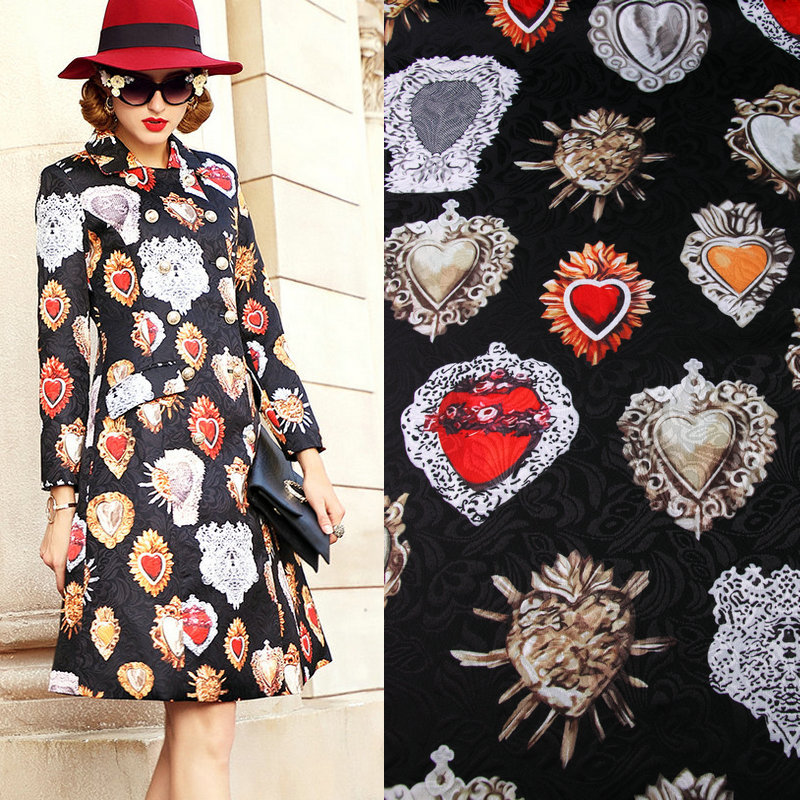 vintage black color polyester jacquard fabric,red stone printed thick jacquard tissus,women dress coat DIY cloth tissu au metre