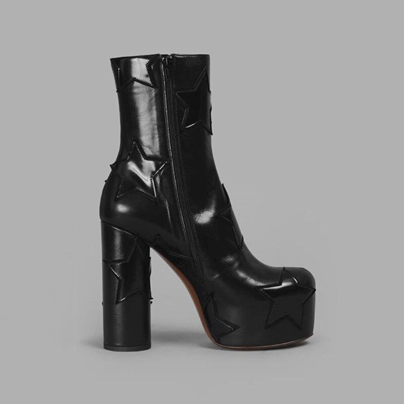 Diseño Genuino 34 Zapatos Tobillo Tacón Negro Karinluna Tamaño 2019 azul Moda 43 Gran Alto Estrellas Plataforma Las De Mujer Marca Botas Cuero d88PYS