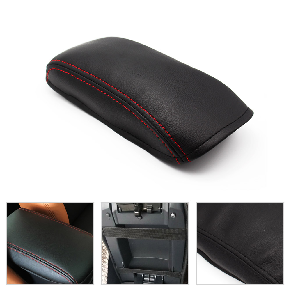 Cheap Price Car Styling Center Console Lid Armrest Box Cover Diy Black Leather With Red Stitching For Hyundai Elantra 2004 - 2012 Top Watermelons