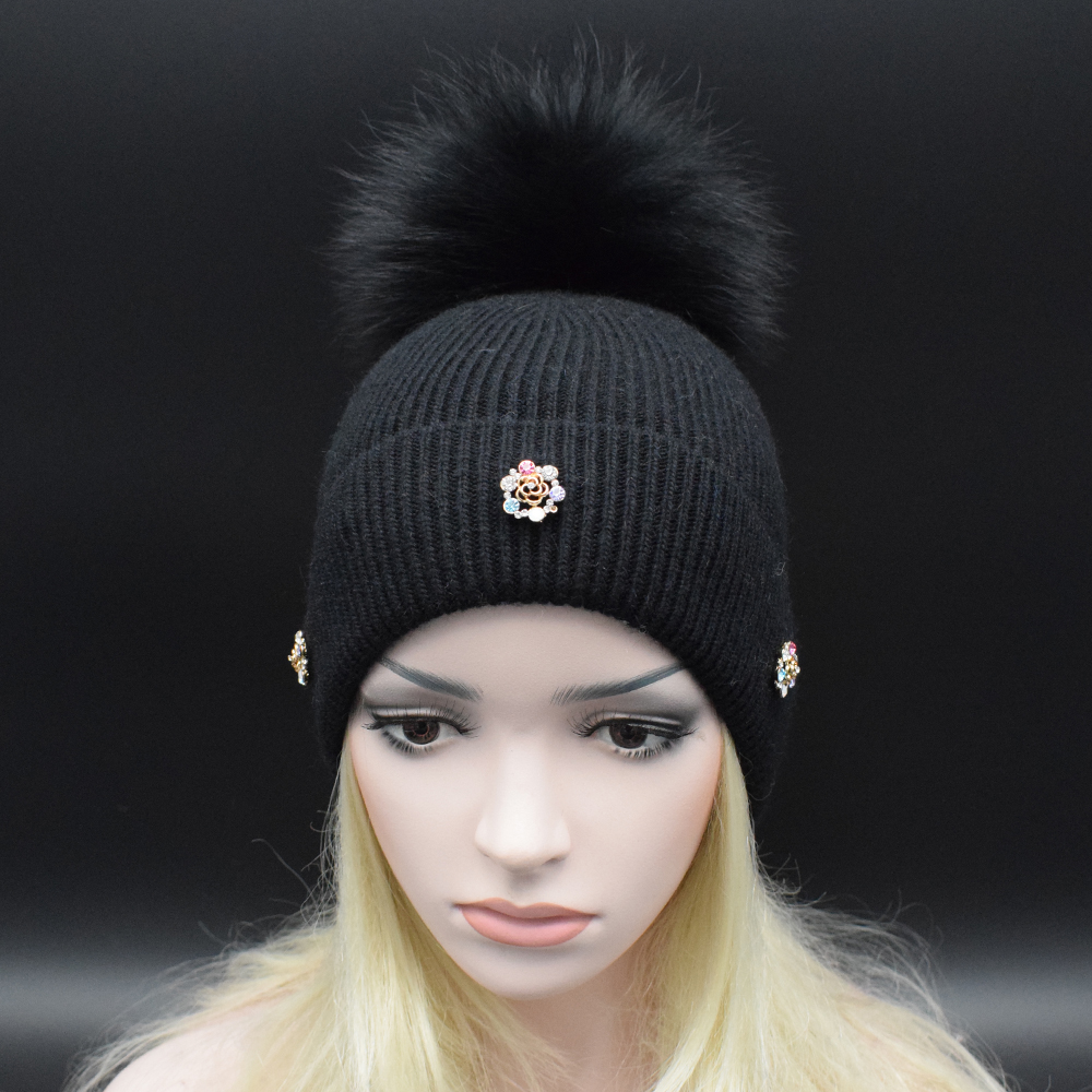 12 Colors Super luxury Real raccoon fur Pompoms Wool Beanie Hat for women with Diamond flower