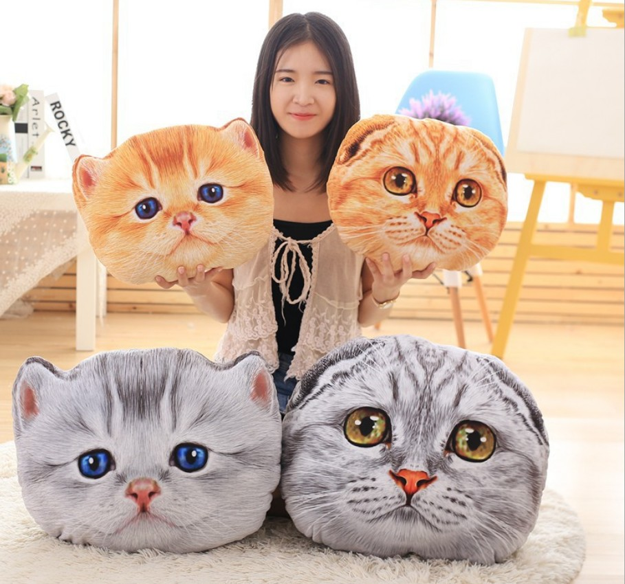 40cm 3D Pillow Cushion Animal Cat Shaped Car Cushion Creative Nap Pillow PP Cotton Filling Seat Cushion Kids Birthday Gift B320