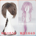 95cm Brown Color Mixture Hair With Pigtail 85cm Pink Curly Hair Dream 100-Cheshire cat/Red plum Country White Leaf Cosplay Wigs