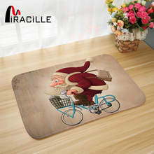 Miracille Christmas Door Mat Cute Santa Claus Printed  Indoor Outdoor Floor Rugs Rectangle Thick Coral Velvet Non-slip Bath Mat цена 2017