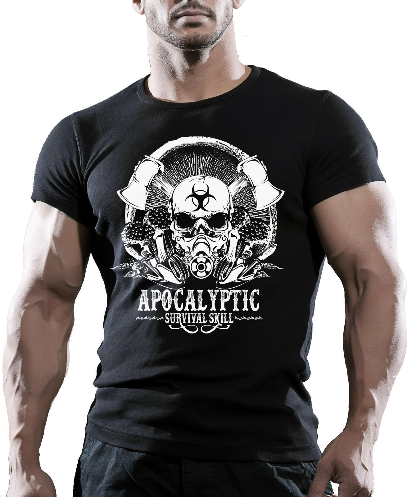 Apocalyptic Survival Skull Mens Zombie Gaming T-Shirt Skull Video Games Printed T Shirts Short Sleeve Hipster Tee