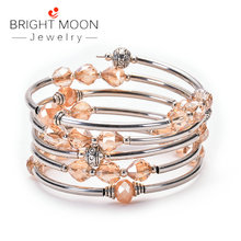 Bright Moon Fashion Natural Stone Bracelet Wrap Multilayer Lady Antique Silver Women for Gift