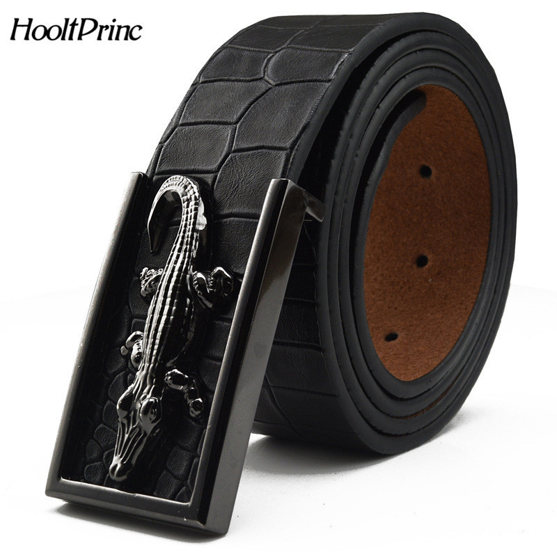 HooltPrinc 2018 brand new all-matched men's gold   belt   cowboy cowhide crocodile stylish   belts   men smooth buckle waist strap jeans
