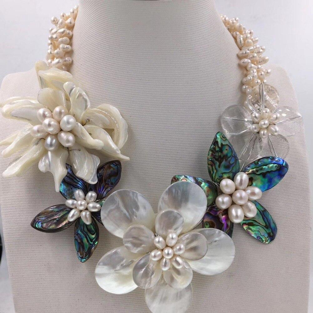 3 строк пресноводного жемчуга и WIHTE Shell ушка цветок ожерелье 19 дюймов дар природы барокко бисер оптом fppj