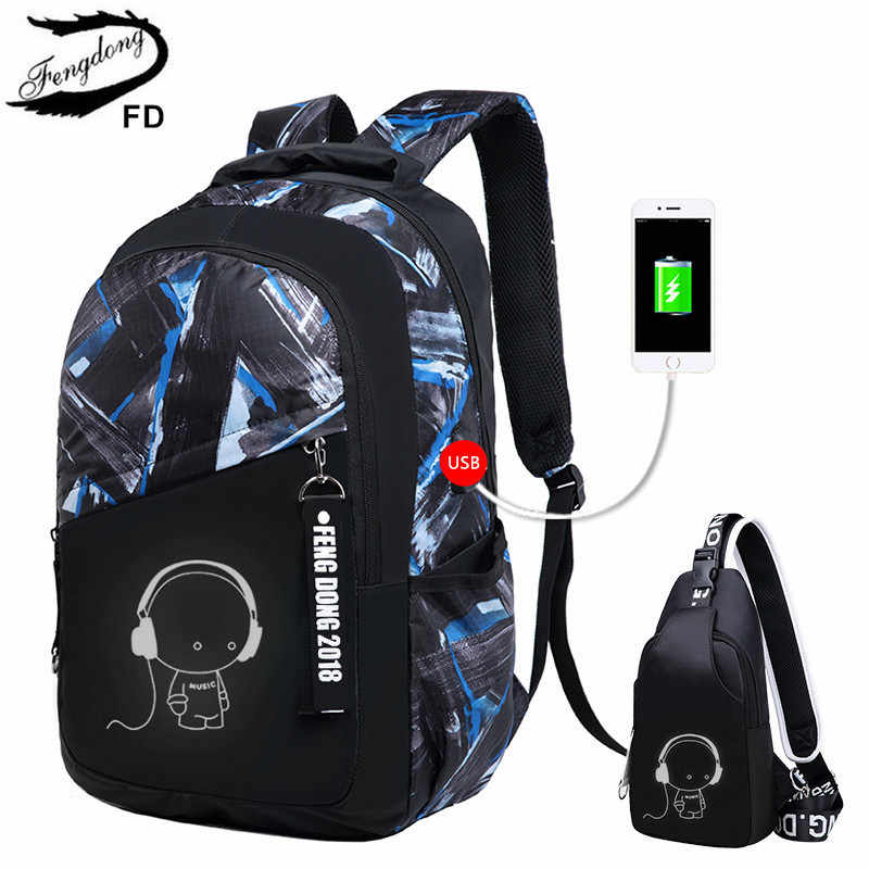 FengDong kids school backpack for boy sling shoulder chest bag pack children school bags child usb charging bag laptop backpack