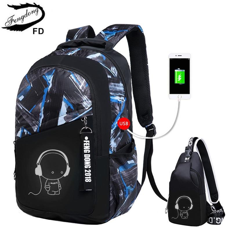FengDong kids' school backpack for boy sling shoulder chest bag pack children school bags child usb charging bag laptop backpack