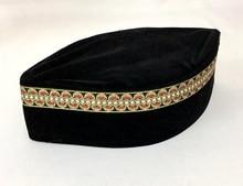 4 unids/bolsa (detalle de verificación de regalo) hombres musulmanes gorro de turbante sombrero islámico negro (El Borde decorativo al azar) Pleuche puede mezclar tamaños