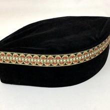 21571fbfd18 4pcs bag Muslim Men Cap Turban Black Islamic Hat Decorative Border Random  Pleuche Can
