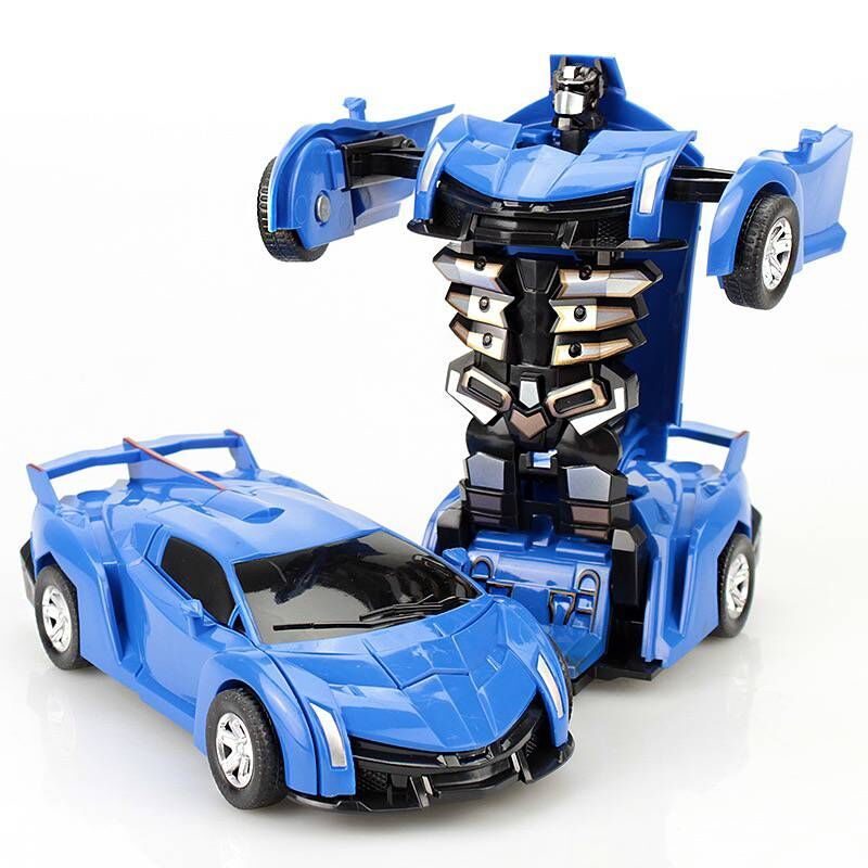 1PCS Transform Robot Car Pull Back Bump Into Transformation Deformation Robot 2 In 1 Car Model Vehicle Boys Toys Gift