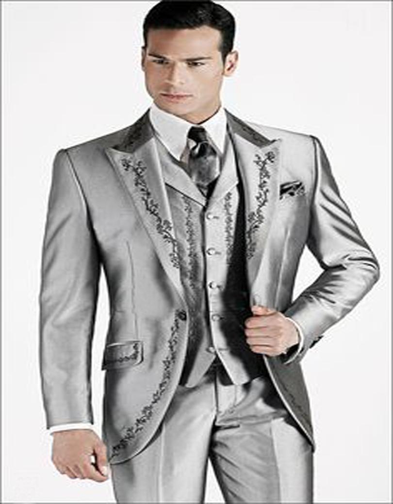 Fashionable One Button Silver Gray Groom Tuxedos Groomsmen Mens Wedding Suits Formal Dress (Jacket+Pants+Vest+Tie) NO:045