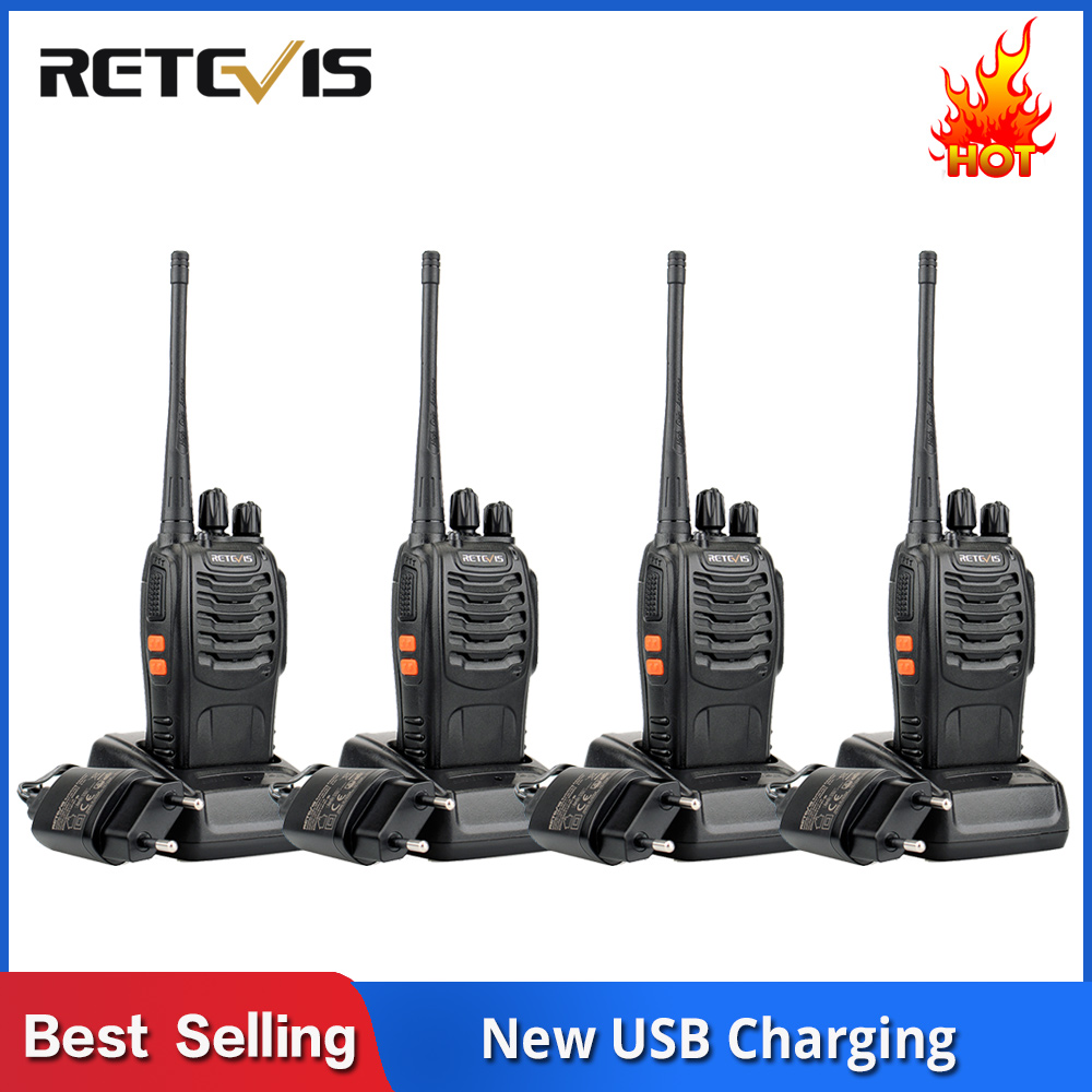 4 pcs Handy Walkie Talkie RETEVIS H777 3W UHF Transceiver Two Way Radio Station Communicator Two