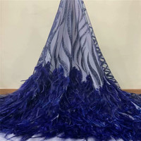 2019 Latest Nigerian Laces Fabrics High Quality African Laces Fabric For Wedding Dress French Tulle Lace With feather zd1 124