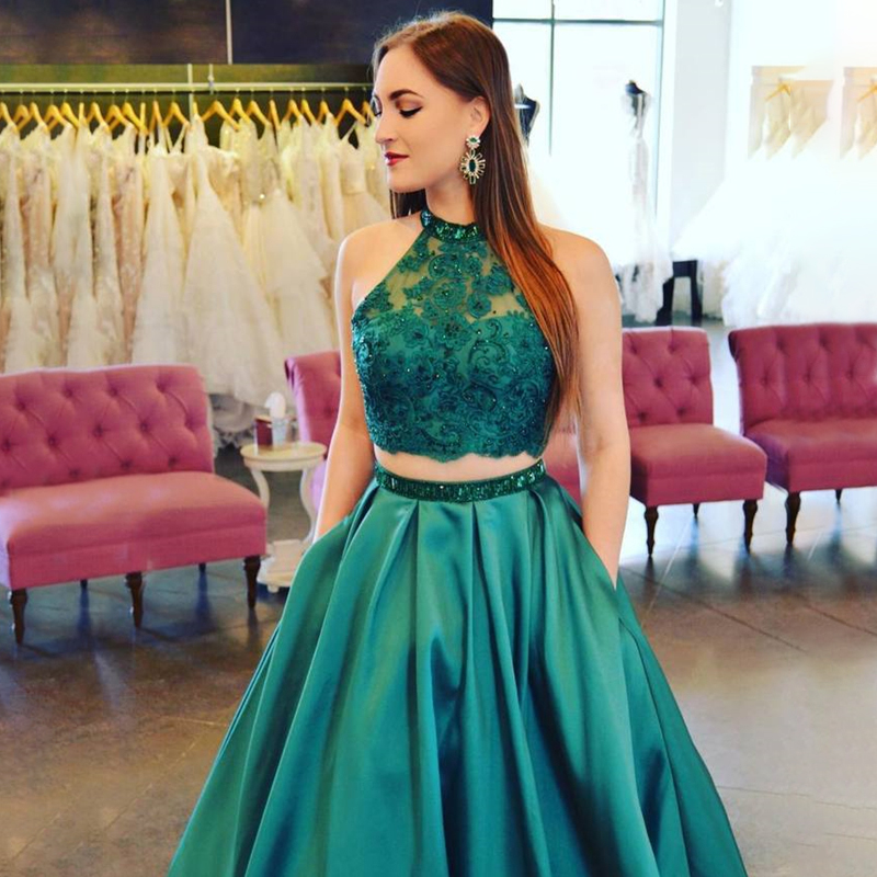 Halter Long Prom Dresses Two Pieces Sleeveless Lace Applique Sequin Belt Green Evening Formal Party Dress